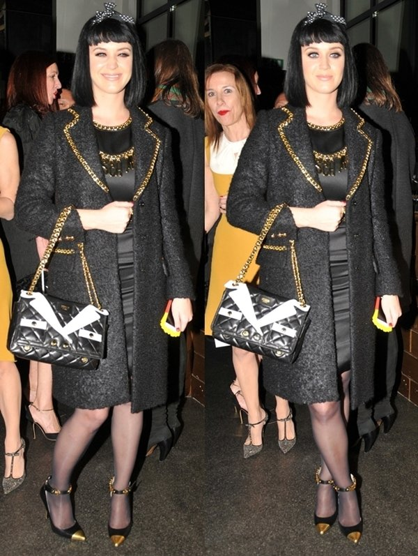 Katy Perry at the after-party of the Moschino fashion show at Milan Fashion Week Autumn/Winter 2014 in Italy on February 20, 2014