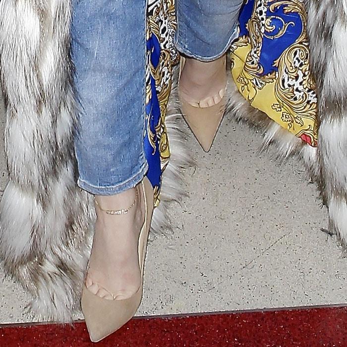 Khloe Kardashian's feet in nude Jimmy Choo pumps
