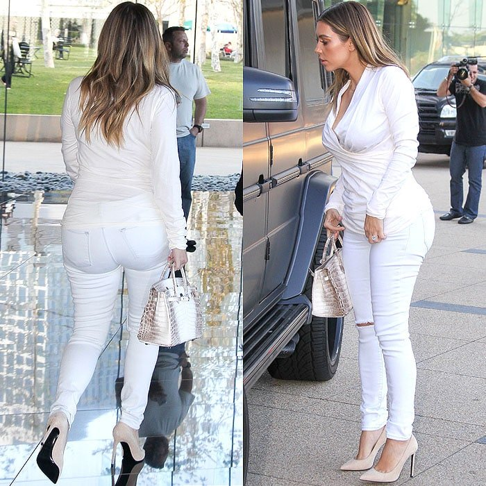 Kim Kardashian visiting an office in Century City in Los Angeles, California, on January 10, 2014