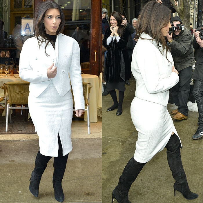 Kim Kardashian decided to ditch the legging boots for these undoubtedly more comfortable over-the-knee boots with her newest pencil skirt outfit