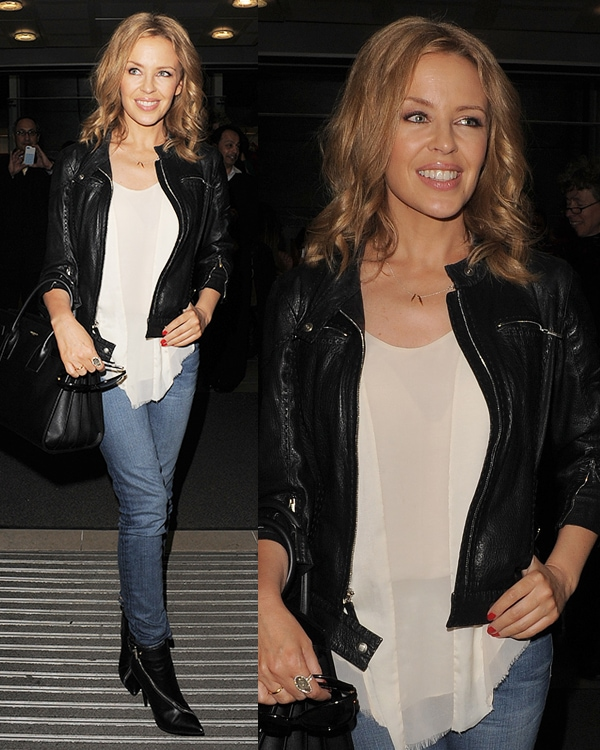 Kylie Minogue leaving office building Soho