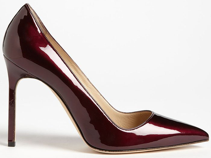 "Manolo Blahnik ""BB"" Patent Pointy-Toe Pumps in Wine"
