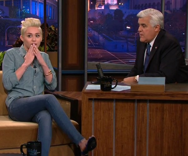 Miley Cyrus on The Tonight Show with Jay Leno in Los Angeles on January 30, 2014