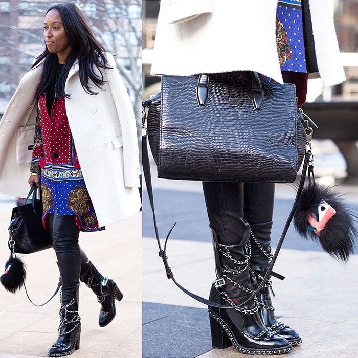 Chanel chained loafer boots with leather pants