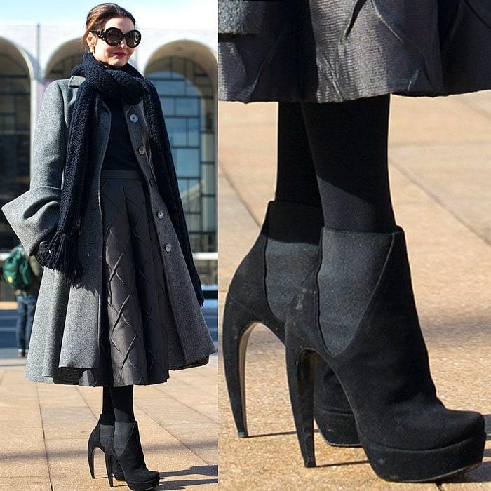 Model rocks Walter Steiger curve-heeled boots