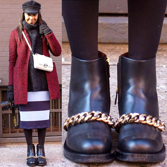 Model rocks badass Givenchy biker chain boots