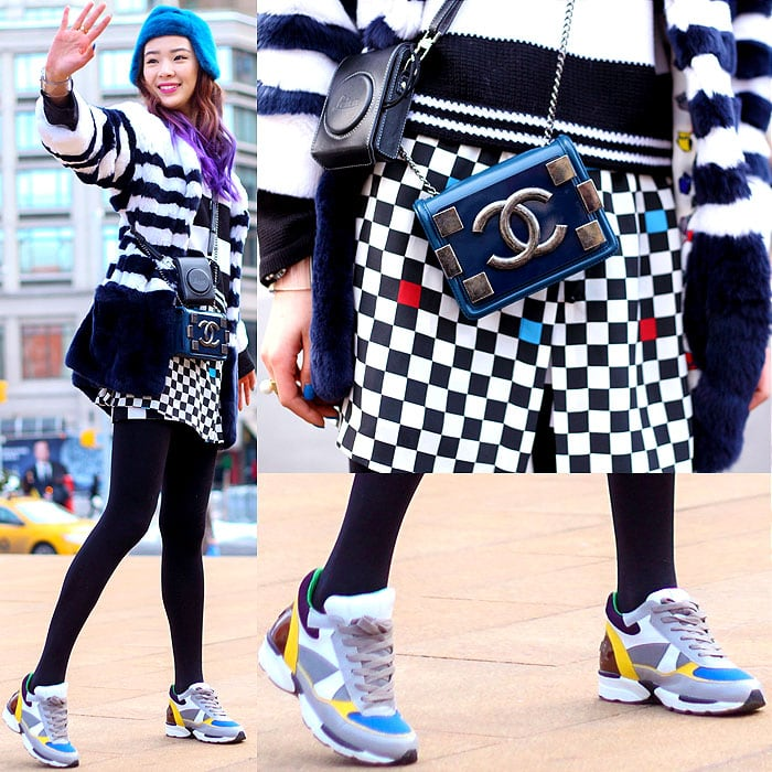Model wearing a checked skirt with colorful sneakers