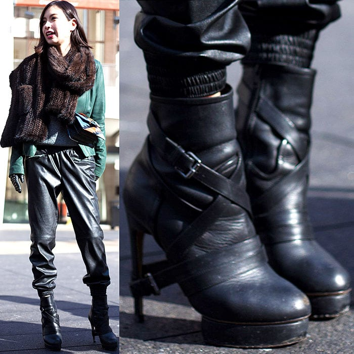 Model wears boots with buckled harness straps