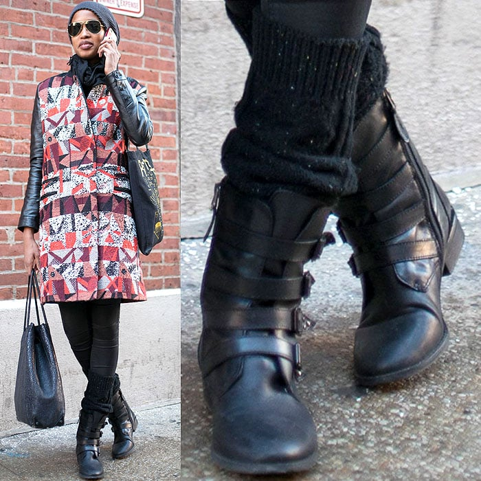 Model wears adjustable ankle-strap boots with socks