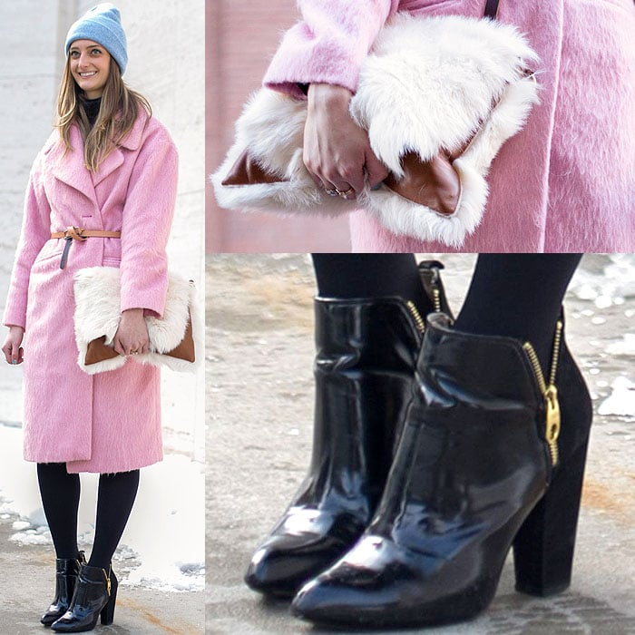 Cozy pink coat and a fluffy purse with ankle boots