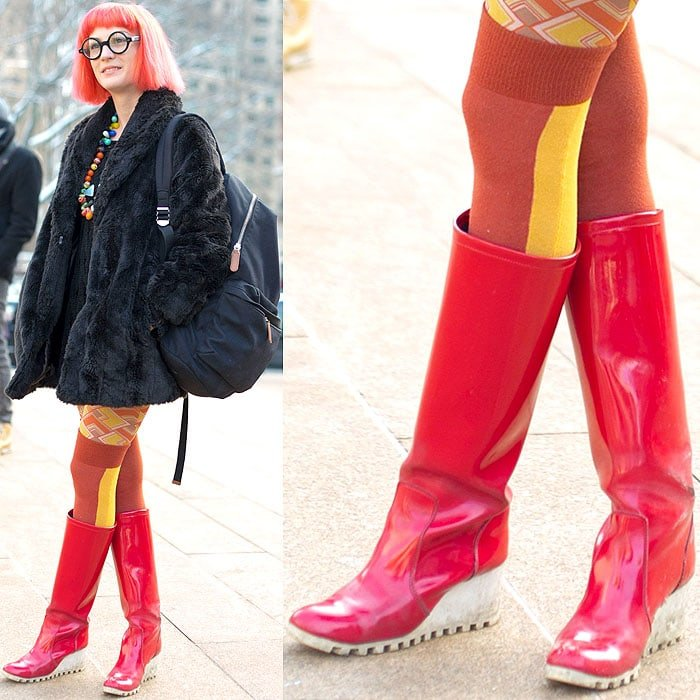 Red hair and red rain boots