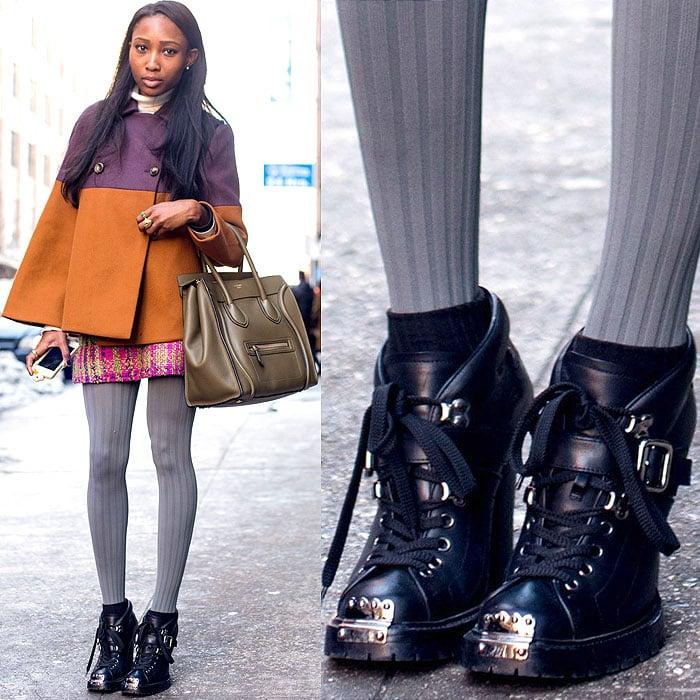 Model wearing hardy steel-toe boots