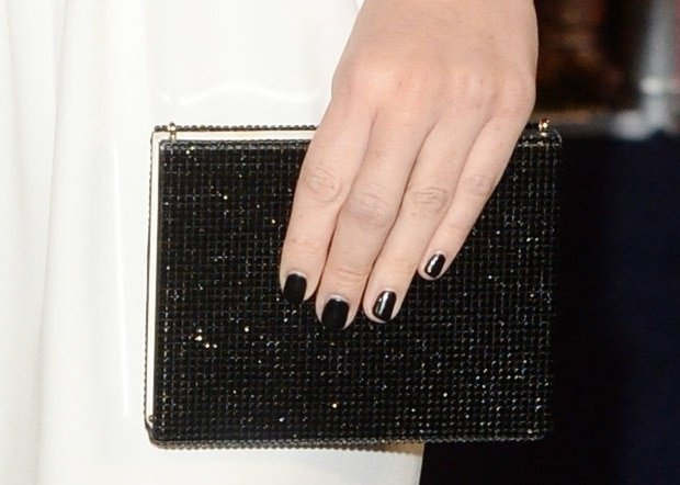 Olivia Munn totesan embellished clutch from Armani