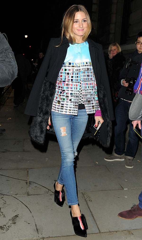 Olivia Palermo arrives at the Matthew Williamson fashion show held during London Fashion Week