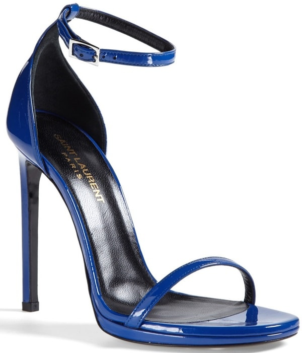 Minimalist design rendered in sleek calfskin leather elevates an electric-blue sandal to chic heights