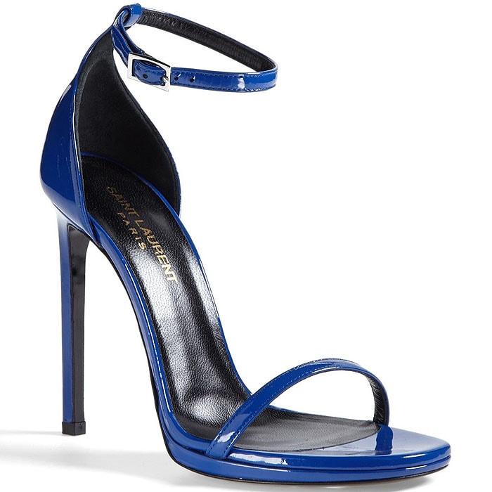 """Saint Laurent """"Jane"""" Ankle-Strap Sandals in Blue Patent"""