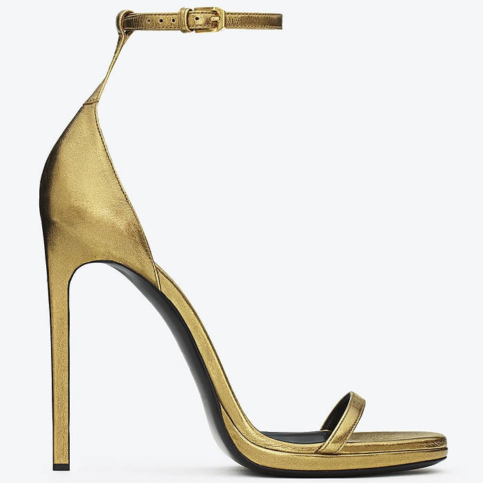"Saint Laurent ""Jane"" Ankle-Strap Sandals in Gold"
