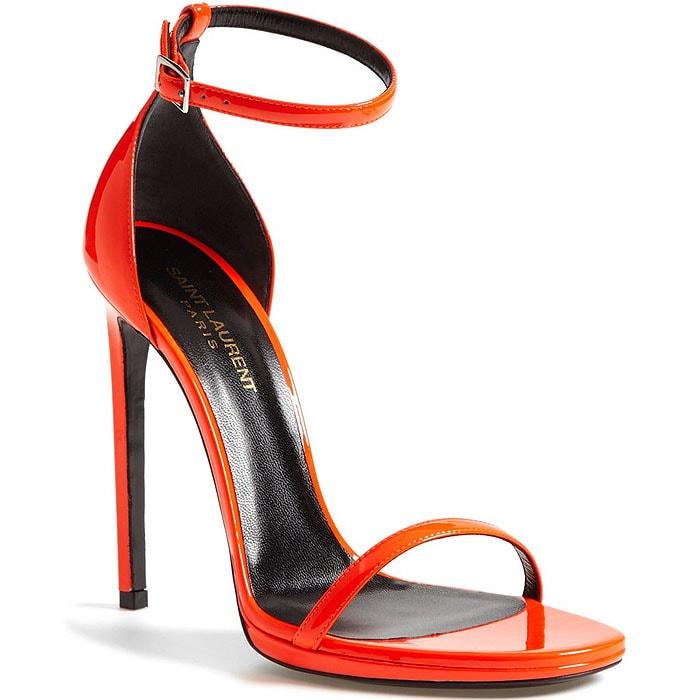 "Saint Laurent ""Jane"" Ankle-Strap Sandals in Neon Orange"