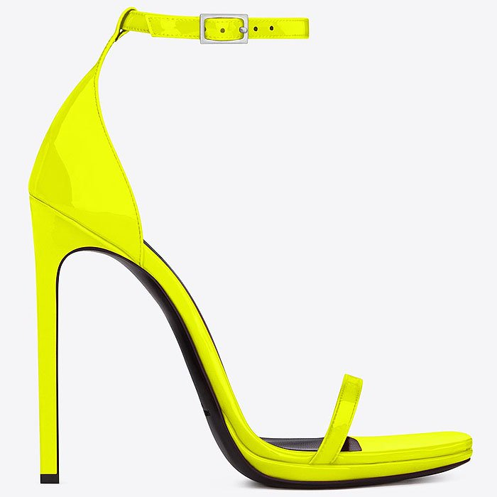"Saint Laurent ""Jane"" Ankle-Strap Sandals in Neon Yellow"