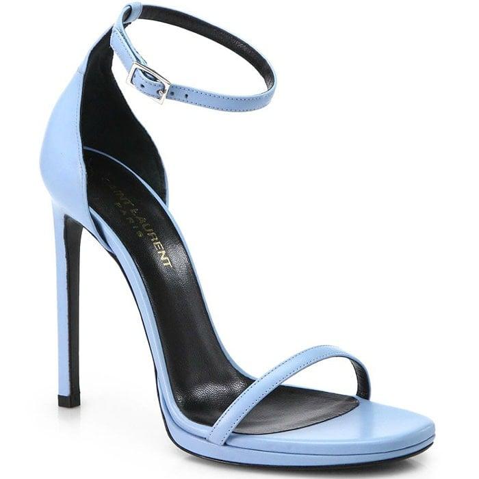 "Saint Laurent ""Jane"" Ankle-Strap Sandals in Sky Blue"