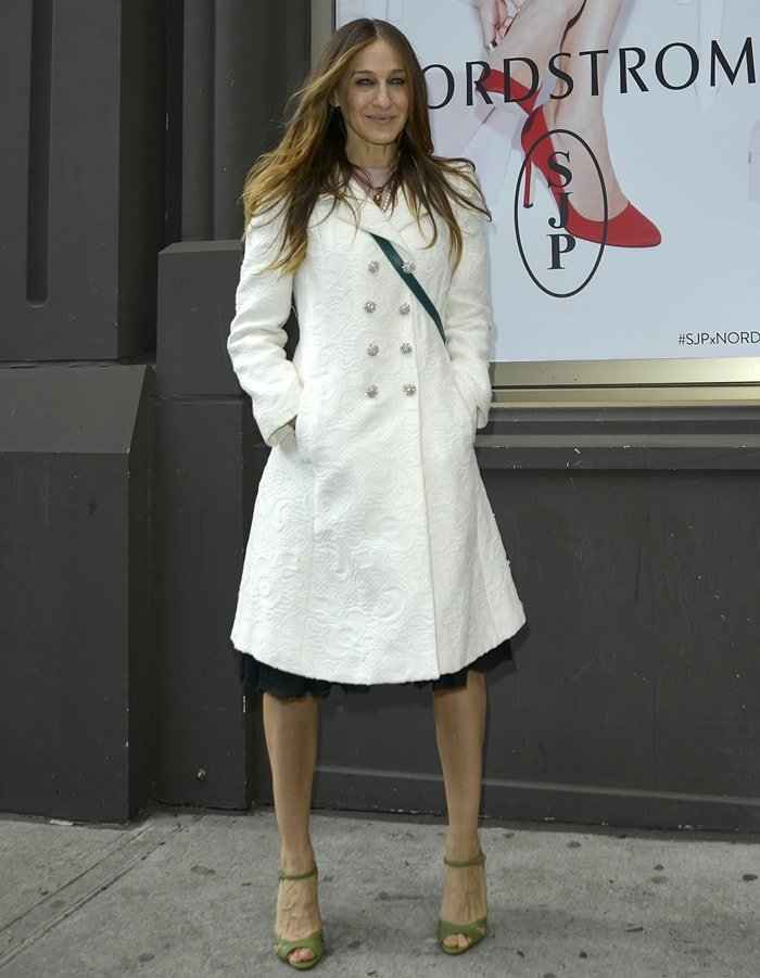 Sarah Jessica Parker is seen wearing a pair of green SJP sandals as she leaves Nordstrom in Manhattan, New York City on February 26, 2014