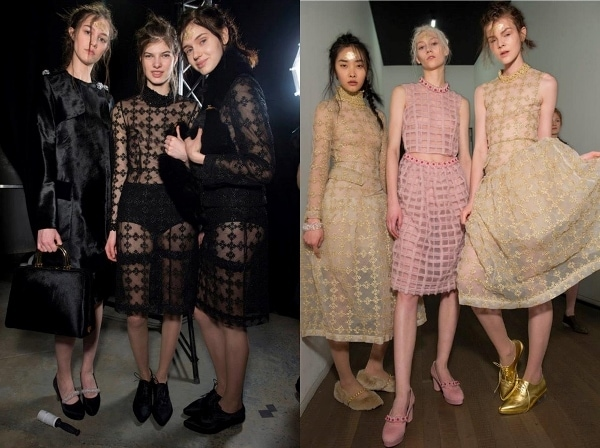 Backstage at Simone Rocha's Fall 2014 show in London, England, on February 18, 2014