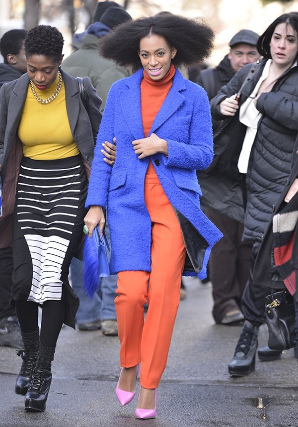 Solange Knowles arriving at the Milly fashion show during Mercedes-Benz Fashion Week Fall 2014 in New York City on February 10, 2014