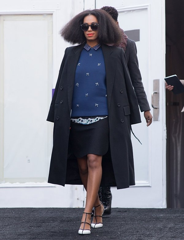 Solange Knowles arriving at the Noor by Noor fashion show during Mercedes-Benz Fashion Week Fall 2014 in New York City on February 10, 2014