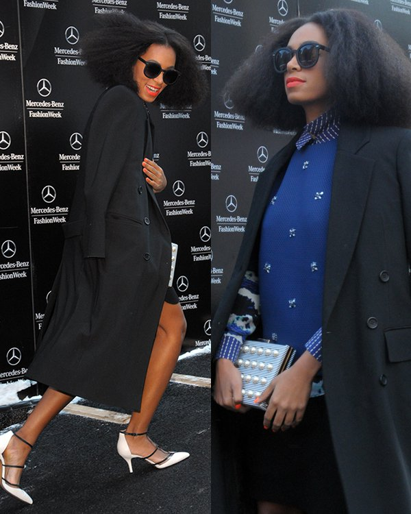 Solange Knowles was seen arriving at the Noor by Noor runway presentation wearing a layered ensemble that included a striped collared shirt, a blue beaded top, and a black skirt