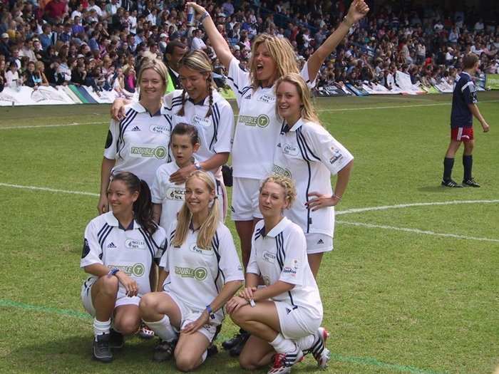 5ft 9in (175cm) tall television presenter Cat Deeley on the pitch during the Soccer Six charity event