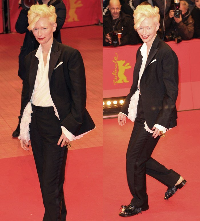 Tilda Swinton wears an androgynous black-and-white suit on the red carpet