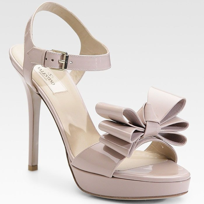 Valentino Patent Leather Bow Platform Sandals in Light Pink