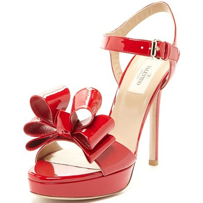 Valentino Patent Leather Bow Platform Sandals in Red