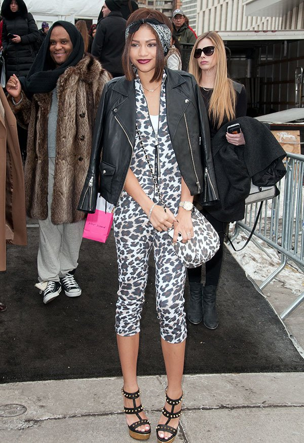 Zendaya Coleman arriving at Betsey Johnson Fashion Show during Mercedes-Benz Fashion Week Fall 2014 at Lincoln Center for the Performing Arts in New York City on February 12, 2014