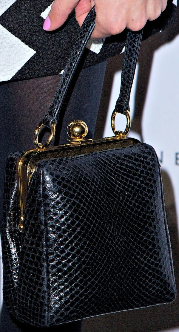 "Alexa Chung's favorite black ""Agata"" leather bag from Dolce & Gabbana"