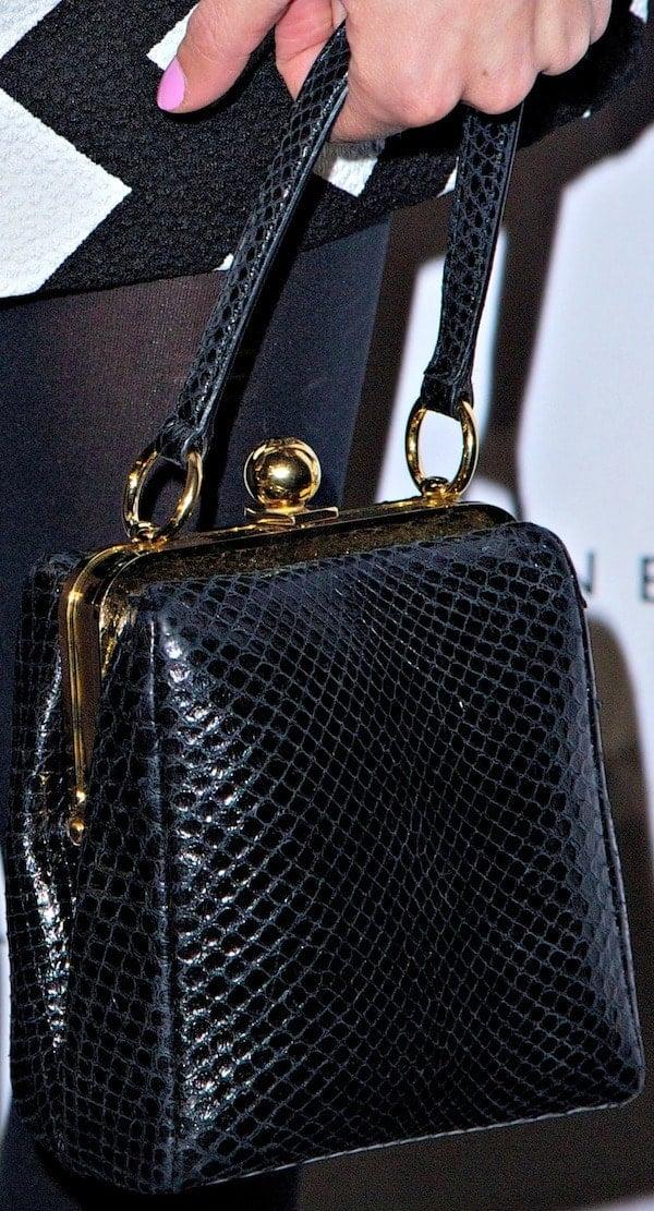 "Alexa Chung'sfavorite black ""Agata"" leather bag from Dolce & Gabbana"