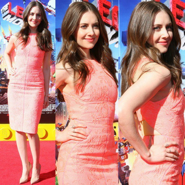 Alison Brie in a coral sleeveless shift dress from J. Mendel