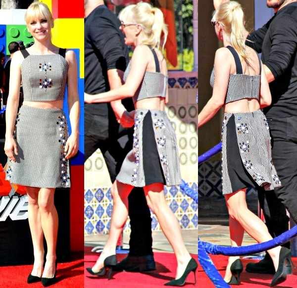 Anna Farisin an embellished two-piece outfit from Tanya Taylor