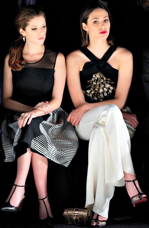 Anna Kendrick and Emmy Rossum at the Carolina Herrera Fall 2014 runway presentation