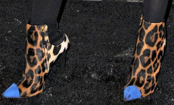 Anna Kendrick rockingleopard-print booties from Giuseppe Zanotti