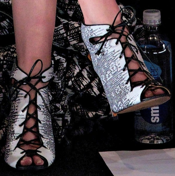 Anna Kendrick inlace-up peep-toe booties from Rebecca Minkoff's Spring 2014 collection