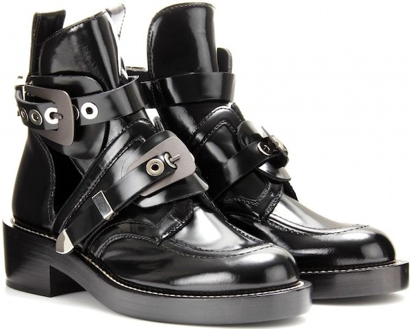Balenciaga Cutout Ankle Boots in Noir Black