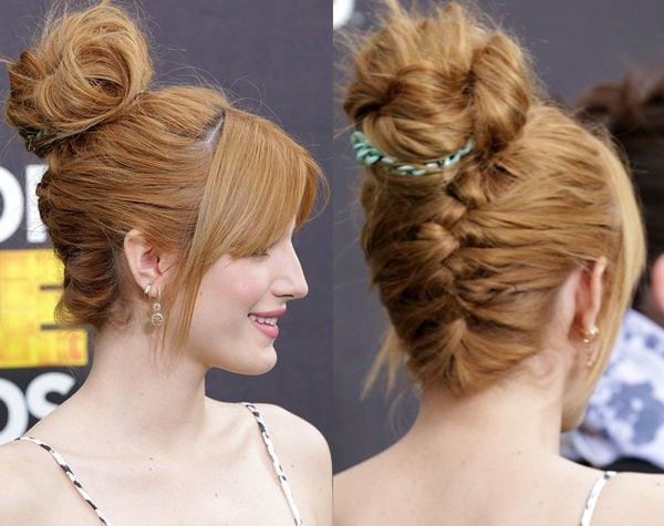 Bella Thorne's gorgeous red hair was styled in a chic updo