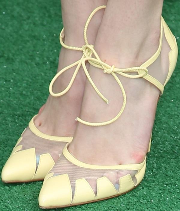 "Bella Thorne's feet inlemon yellow ""Lana"" pumps from Bionda Castana"