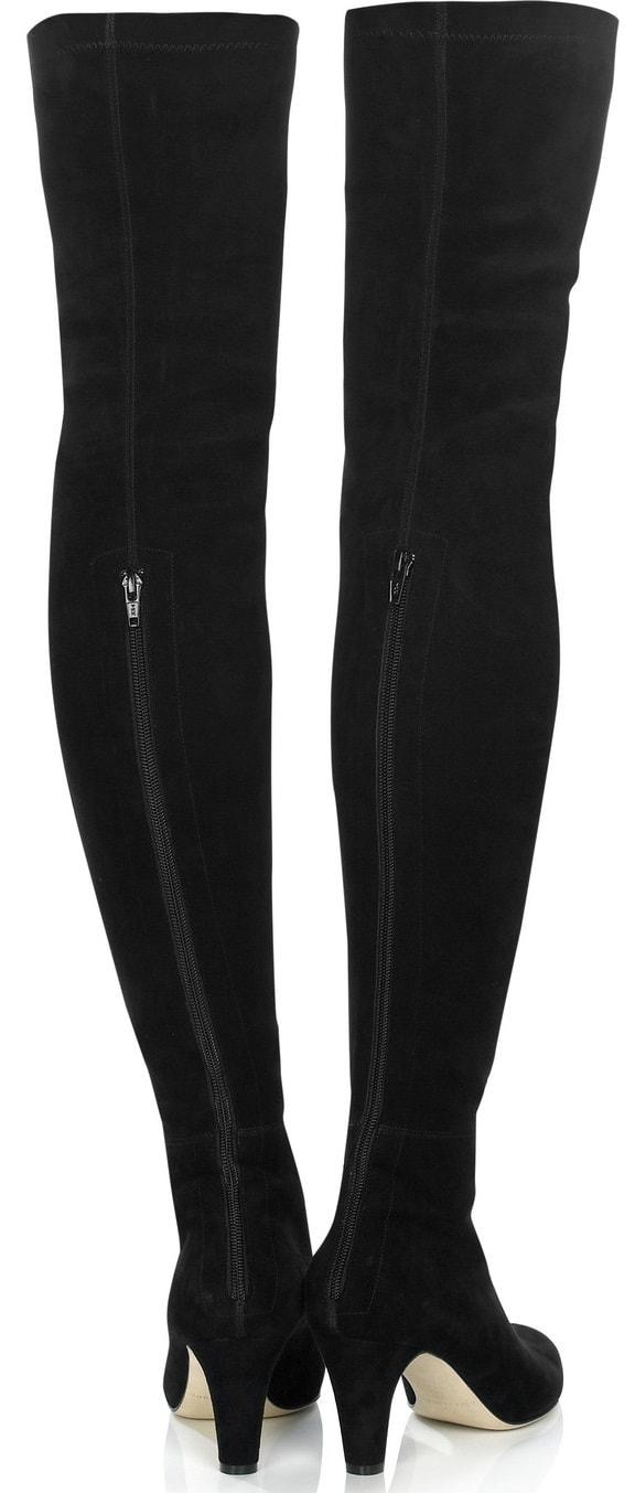 Jamie Suede Over-the-Knee Boots in Black