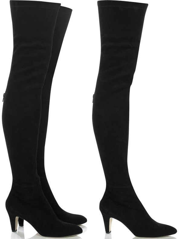 Jamie Suede Over-the-Knee Boots in Black