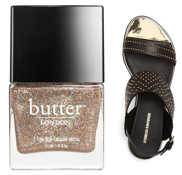 Nicholas Kirkwood Studded Flat Sandal with Butter London Lucy In the Sky