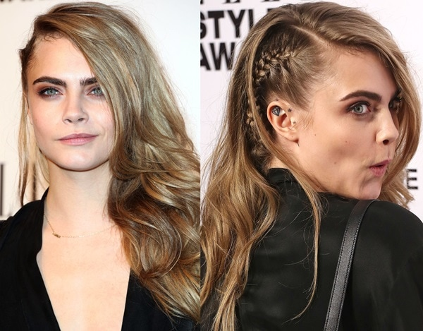 Cara Delevingne styled her hair in an asymmetrical braid on one side and cascading waves on the other