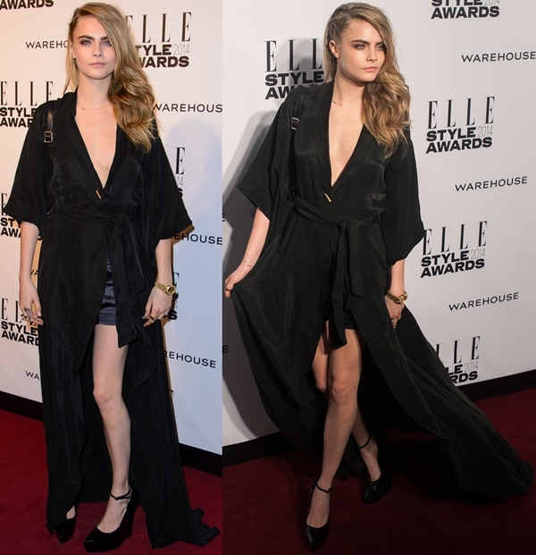 Cara Delevingne showed some leg and flaunted her décolletage