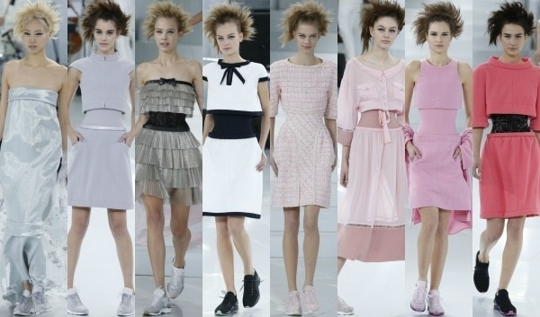 Models showing off the latest high-fashion looks from Chanel's spring/summer 2014 haute couture collection during Paris Fashion Week held in Paris, France, on January 21, 2014